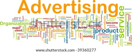 Word cloud concept illustration of media advertising - stock photo