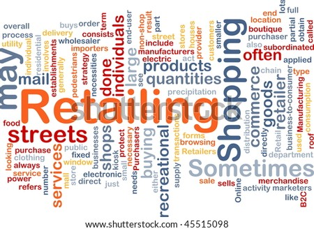 Word cloud concept illustration of retailing retail
