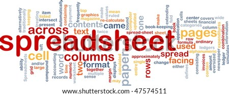Word cloud concept illustration of spreadsheet software