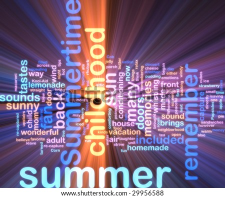 Word cloud concept illustration of summer season glowing neon light style