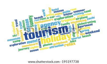 Word cloud containing expressions regarding tourism - stock photo