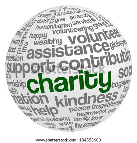 Word cloud containing words related to charity, assistance, health care, kindness, human features, positivity, volunteering, donations, help and similar in the shape of the sphere - stock photo