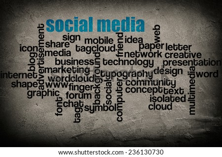 word cloud containing words related to Social media on grunge wall background  - stock photo
