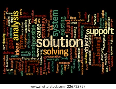 Word Cloud containing words related to solution