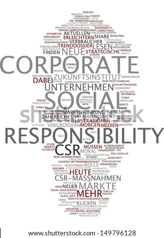 Word cloud - corporate social responsibility - stock photo
