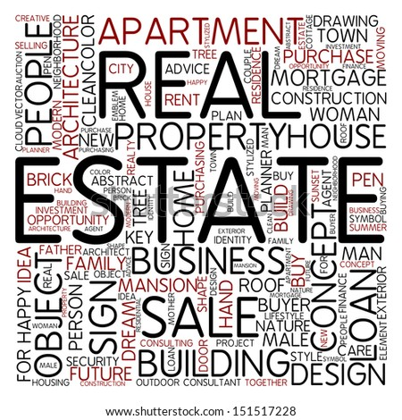 Word cloud - estate - stock photo