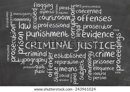 Word cloud for Criminal justice - stock photo
