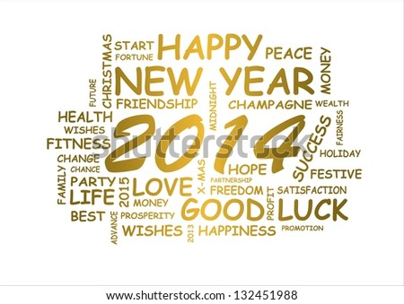 word cloud for new year 2014 - stock photo