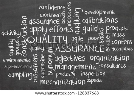 Word cloud for Quality assurance - stock photo
