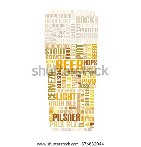 Word Cloud glass of Beer - stock photo