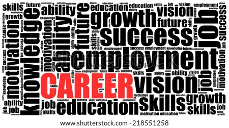 Word cloud illustration related to career or employment - stock photo