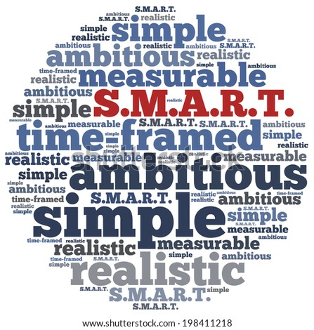 Word cloud illustration related to SMART concept of setting goals - stock photo