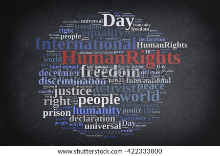 Word cloud illustration with International Human Rights Day.3D rendering - stock photo