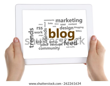 Word cloud in tablet. Blog concept - stock photo