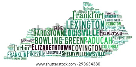 Word Cloud in the shape of Kentucky showing some of the cities in the state - stock photo