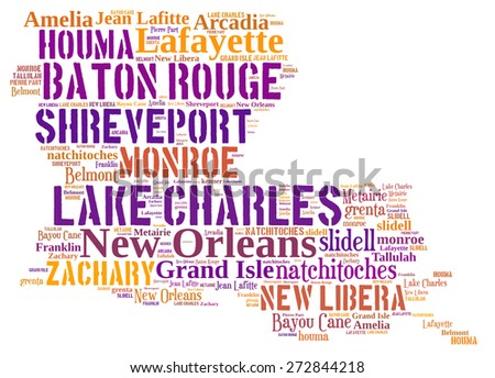 Word Cloud in the shape of Louisiana showing some of the cities in the state - stock photo