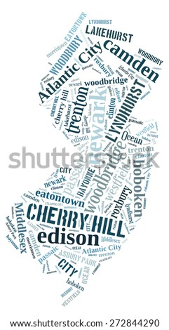 Word Cloud in the shape of New Jersey showing some of the cities in the state - stock photo