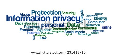 Word Cloud - Information privacy - stock photo