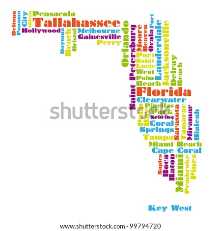 word cloud map of Florida state