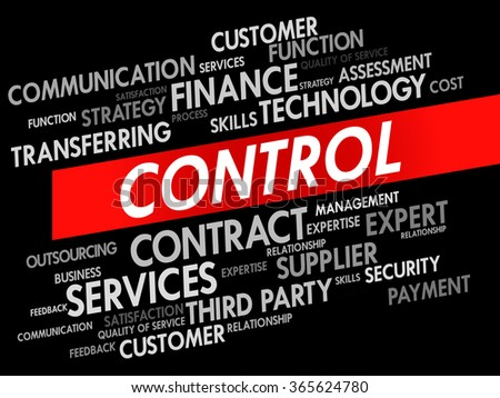 Word cloud of CONTROL related items, presentation background - stock photo