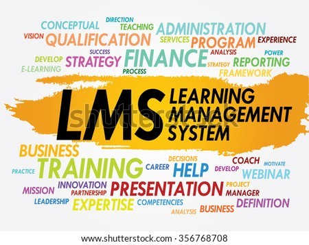 Word cloud of Learning Management System (LMS) related tags, business concept - stock photo