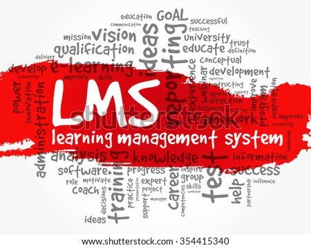 Word cloud of Learning Management System (LMS) related tags, concept background - stock photo