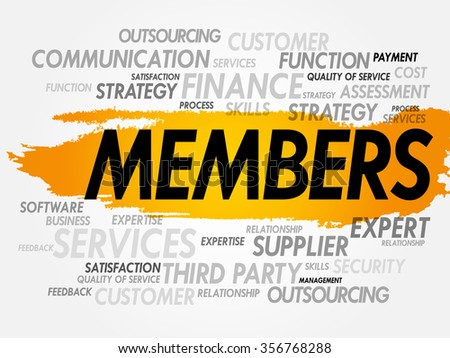 Word cloud of MEMBERS related items, presentation background - stock photo
