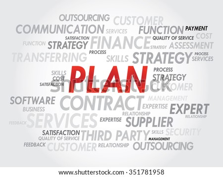 Word cloud of PLAN related items, presentation background - stock photo
