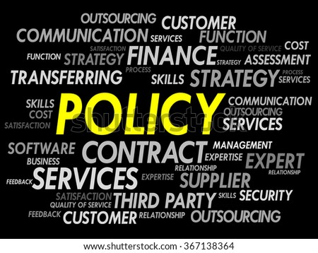 Word cloud of POLICY related items, presentation background - stock photo