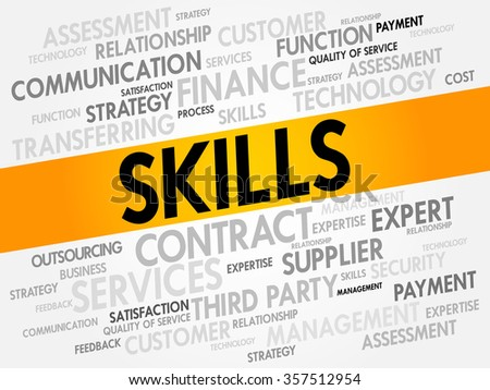 Word cloud of SKILLS related items, presentation background - stock photo