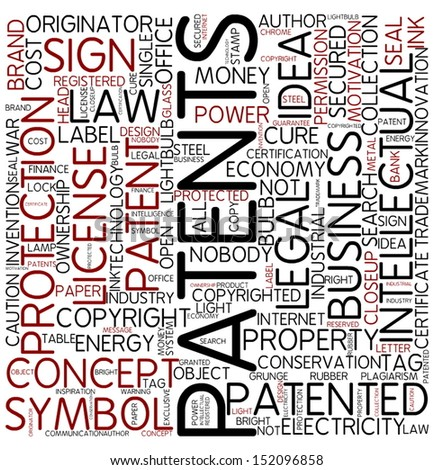 Word cloud - patents - stock photo