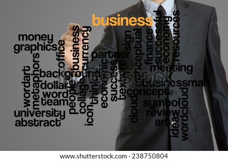 word cloud related to business written by businessman - stock photo