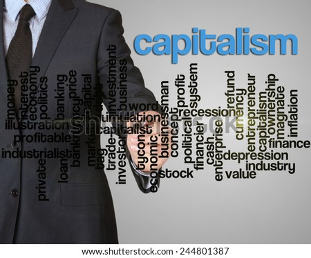 word cloud related to capitalism written by businessman