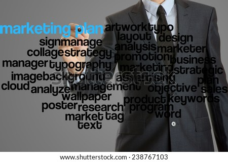 word cloud related to marketing plan written by businessman