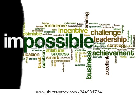 Word cloud related to motivation, possibility and ability, illustrating concept of impossible vs. possible in business or other areas of work - stock photo