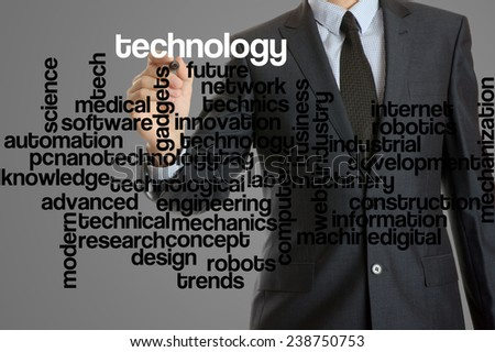 word cloud related to technology written by businessman