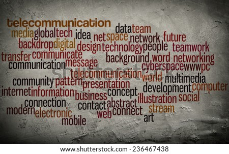 word cloud related to telecommunication on grunge wall background - stock photo