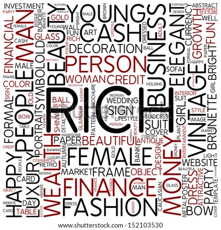 Word cloud - rich - stock photo