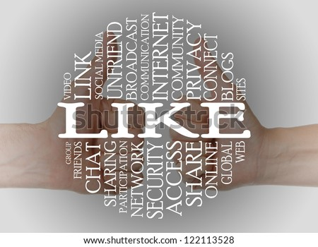 Word cloud social media with a thumbs up background - stock photo