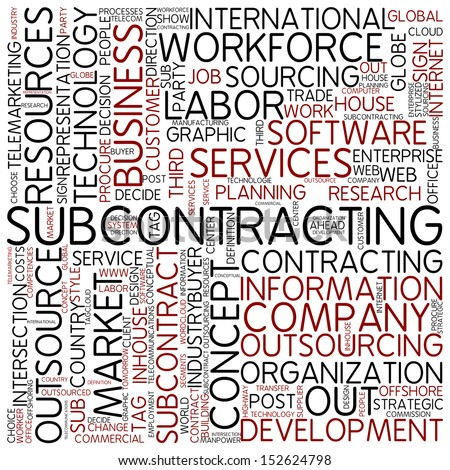 Word cloud - subcontracting - stock photo