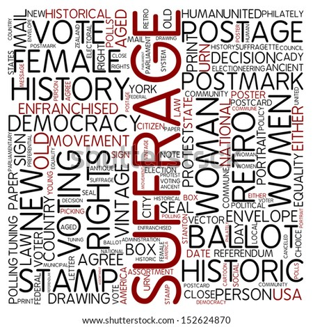 Word cloud - suffrage - stock photo