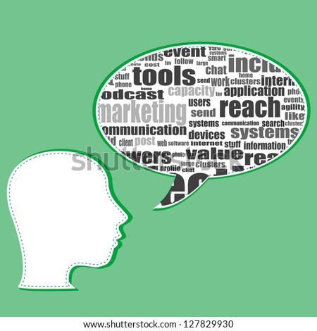Word cloud, tag cloud text business concept. Head silhouette with social words, raster - stock photo