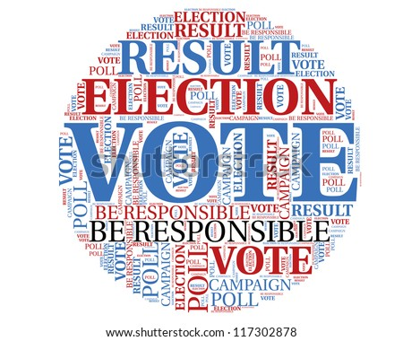 Word cloud, tag cloud text business concept. Voting sign silhouette with the  words on the topic of voting, election, poll. Word collage. - stock photo