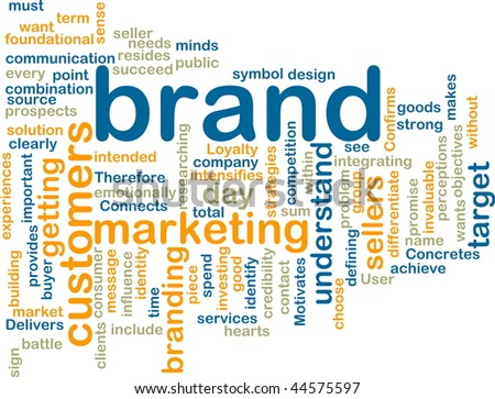 Word cloud tags concept illustration of brand marketing - stock photo