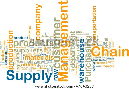 Word cloud tags concept illustration of supply chain management - stock photo
