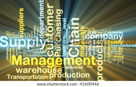 Word cloud tags concept illustration of supply chain management glowing light effect - stock photo