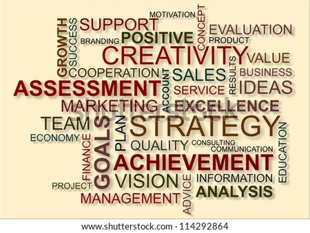 word cloud with assessment and achievement - stock photo