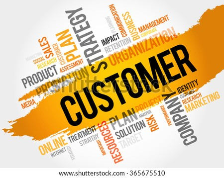 Word Cloud with Customer related tags, business concept - stock photo