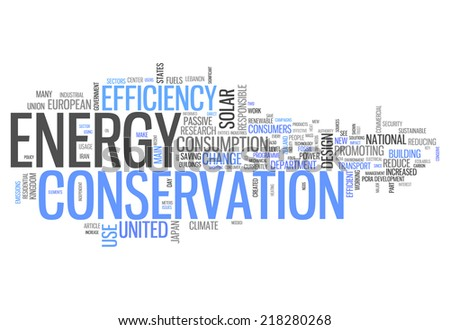 Word Cloud with Energy Conservation related tags - stock photo