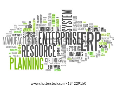 Word Cloud with Enterprise Resource Planning related tags - stock photo